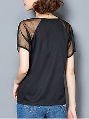 Summer  Polyester  Women  Round Neck  See-Through  Letters Short Sleeve T-Shirts