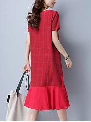 Round Neck Plaid Midi Shift Dress