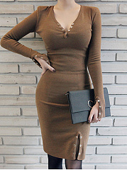 Deep V-Neck  Plain  Blend Bodycon Dress
