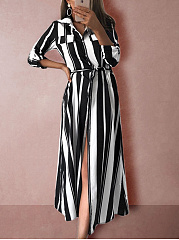 Turn Down Collar  Belt  Striped Shift Dress