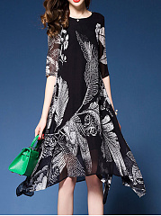 Round Neck Asymmetric Hem  Hollow Out Printed Shift Dress