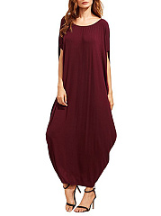 Oversized Round Neck Two Way Plain Maxi Dress