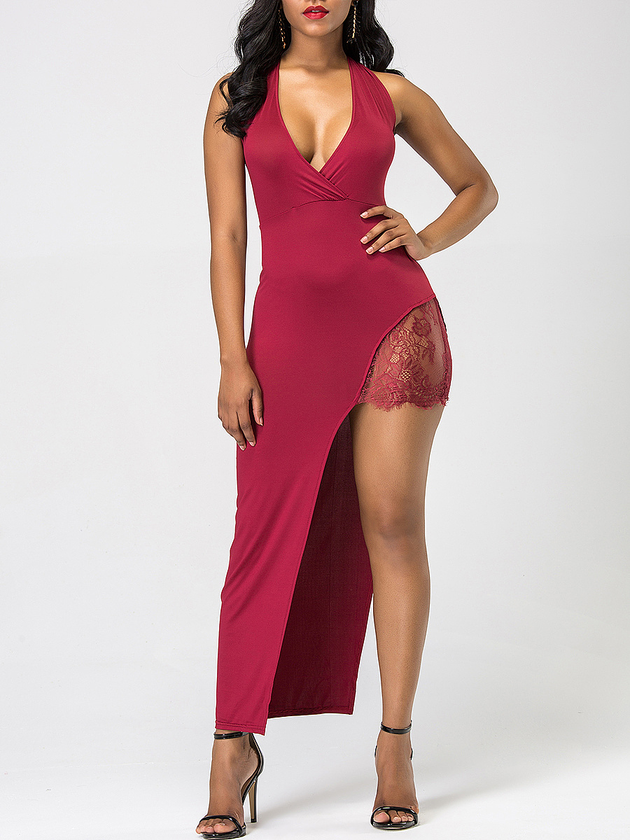 Sexy Deep V-Neck Asymmetric Hem Plain Maxi Dress