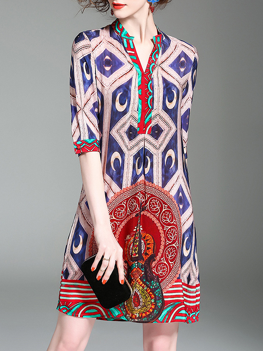 Split Neck Tribal Printed Half Sleeve Shift Dress