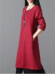 Round Neck Jacquard Plain Pocket Shift Dress