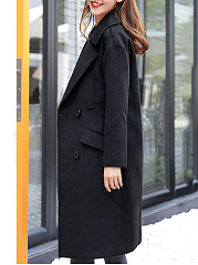 Fold-Over Collar  Double Breasted  Plain  Long Sleeve Coats
