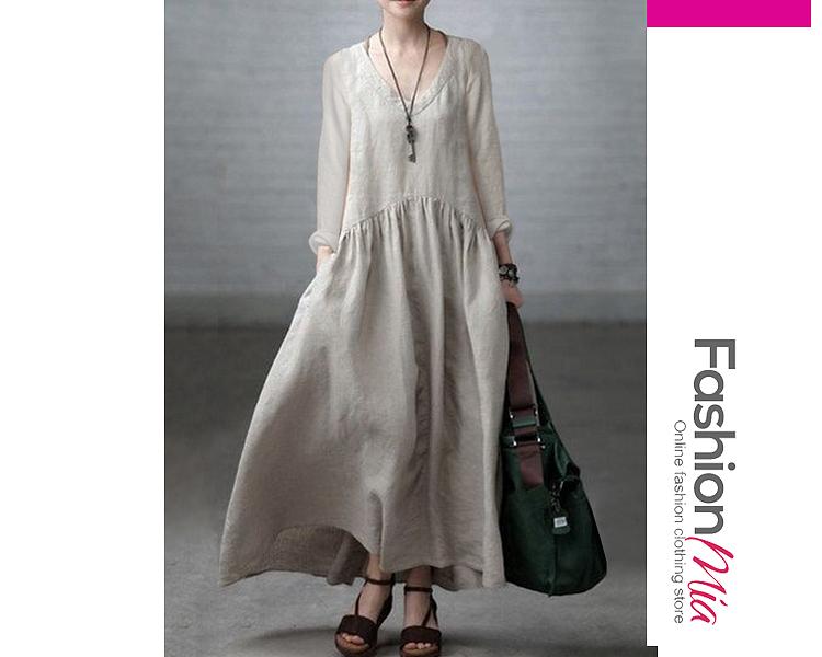V-Neck  Plain Casual  Maxi Dresses