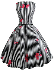 Contrast Piping  Floral Striped Dresses