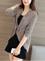 Fluffy Lapel Leopard Cardigan