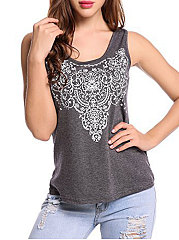 Summer  Polyester  Women  Round Neck  Printed Sleeveless T-Shirts