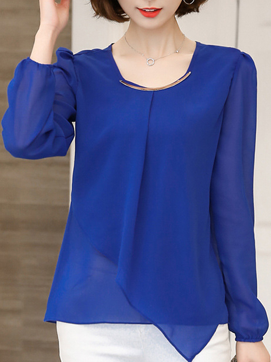 Round Neck Hollow Out Plain Chiffon Blouse