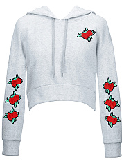 Embroidery Patch Cropped Hoodie