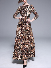 Round Neck  Leopard Party Maxi Dress