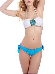 Halter-Beading-Bowknot-Plain-Bikini