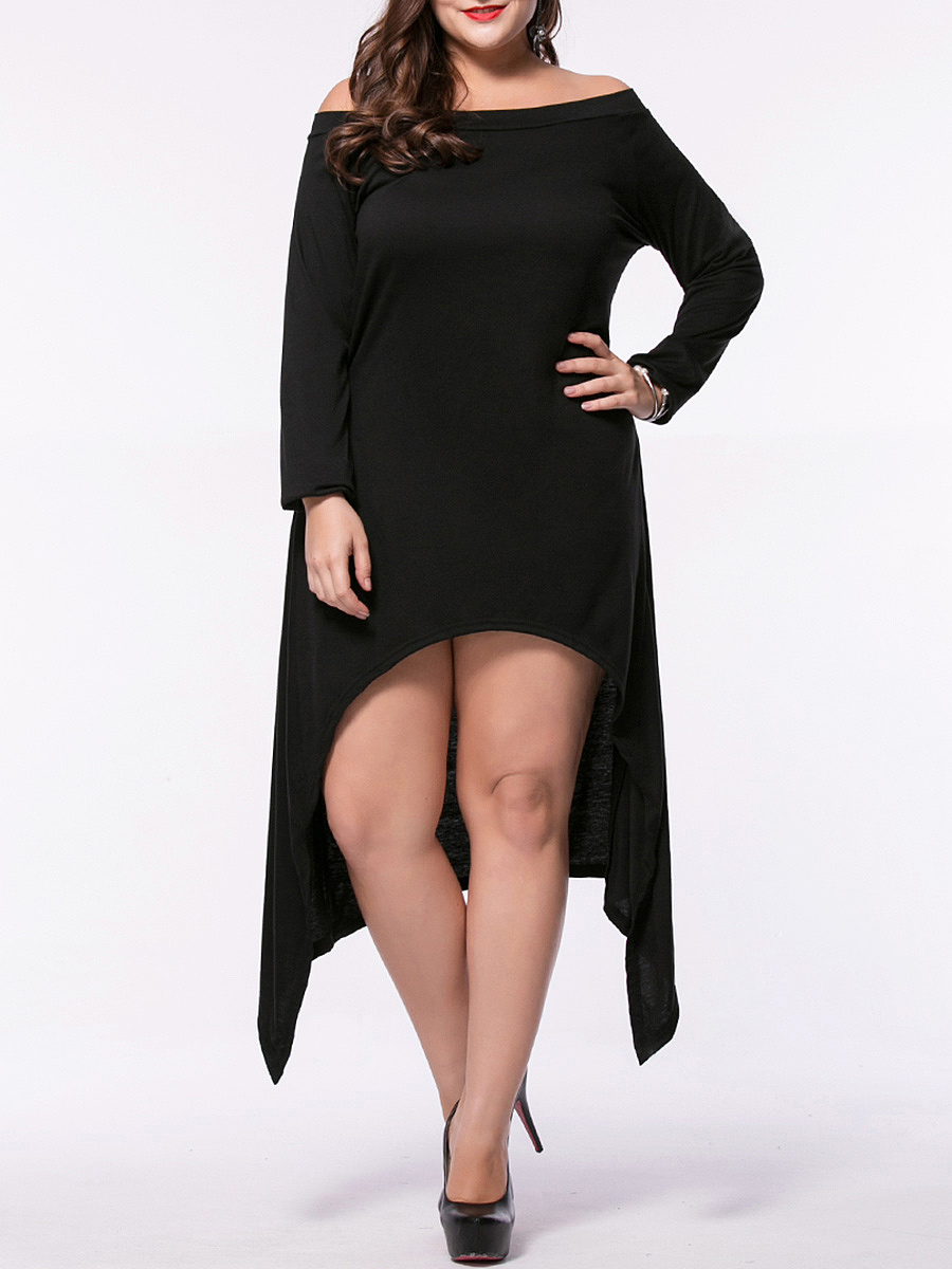 Asymmetric Hem Plain Off Shoulder Plus Size Shift Dress