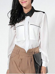 Turn Down Collar  Patch Pocket Blouse