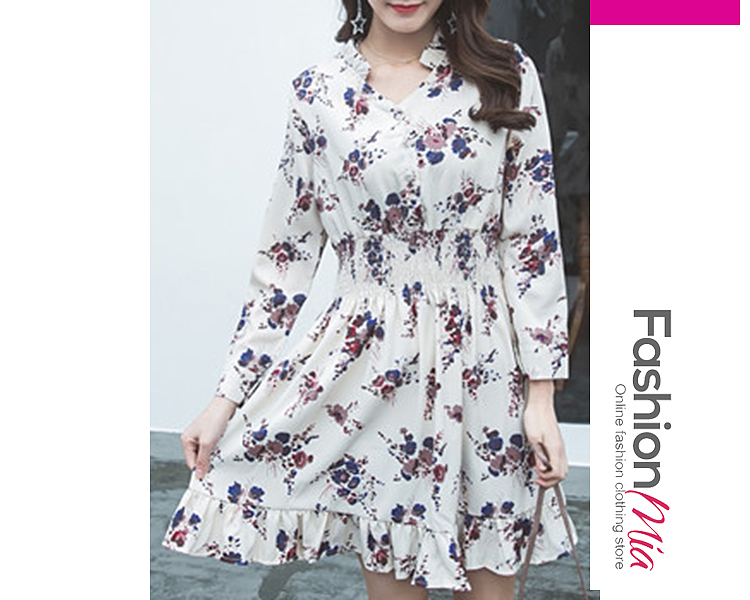 V-Neck  Elastic Waist Ruffle Trim Ruffled Hem Single Breasted  Floral Printed Skater Dress