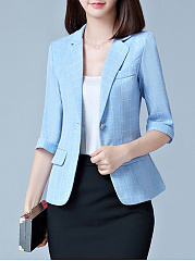 Notch Lapel Single Button Plaid Cuffed Sleeve Blazer
