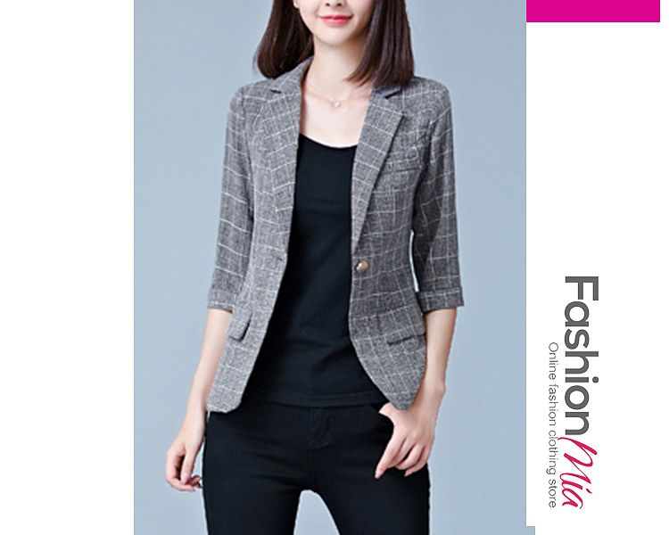 material:polyester, collar&neckline:notch lapel, sleeve_type:cuffed sleeve, sleeve:three-quarter sleeve, more_details:single button, pattern_type:plaid, occasion:office, season:autumn*spring, package_included:top*1, length:56,shoulder:36,sleeve length:36,bust:82,waist:70,
