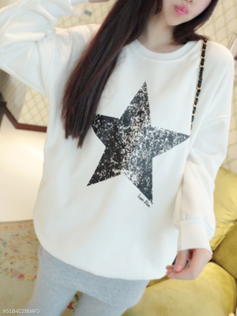 Autumn Spring  Polyester  Women  Round Neck  Star Long Sleeve T-Shirts