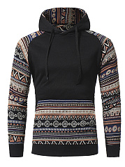 Kangaroo Pocket Printed Striped Men Hoodie