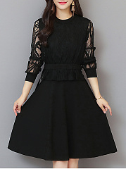 Round Neck  Patchwork  Lace Skater Dress
