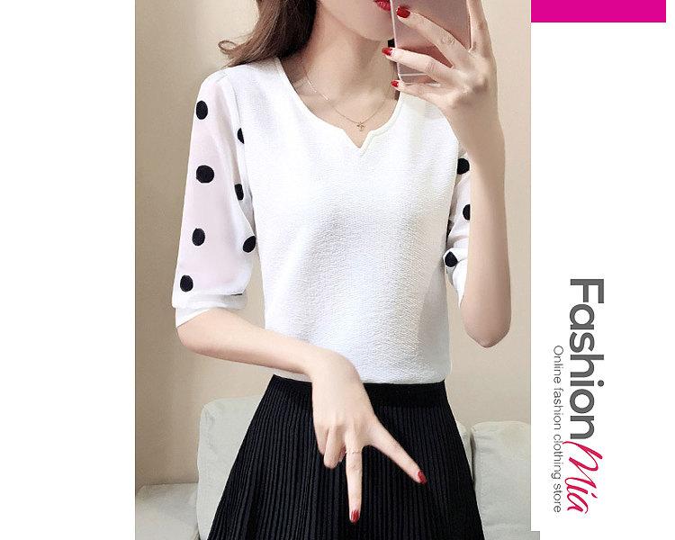 Spring Summer  Chiffon  Women  Polka Dot  Half Sleeve Blouses