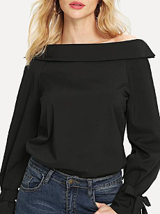Autumn Spring  Polyester  Women  Boat Neck  Plain  Tie Sleeve  Long Sleeve Blouses