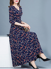 V-Neck  Printed Daily Maxi Dress