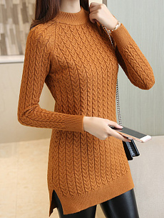 Round Neck  Slit  Plain Sweaters Pullover