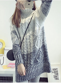 Turtleneck  Patchwork  Embossed  Long Sleeve Pullover