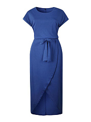 Round Neck  Belt  Plain Plus Size Midi & Maxi Dresses