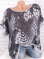 Round Neck  Loose Fitting  Print Blouses