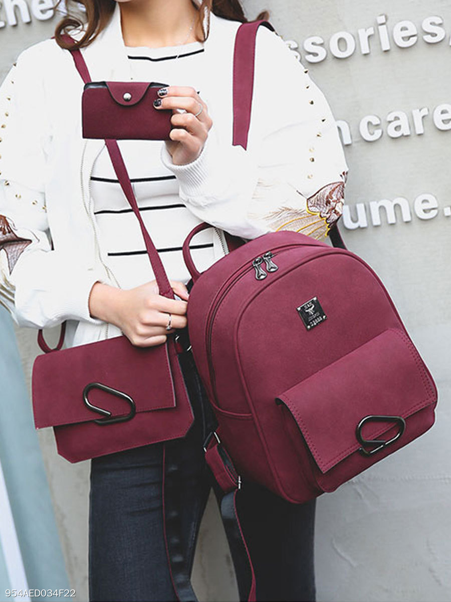 New Style Three Pieces Decrotive Metal Plain Women Backpacks