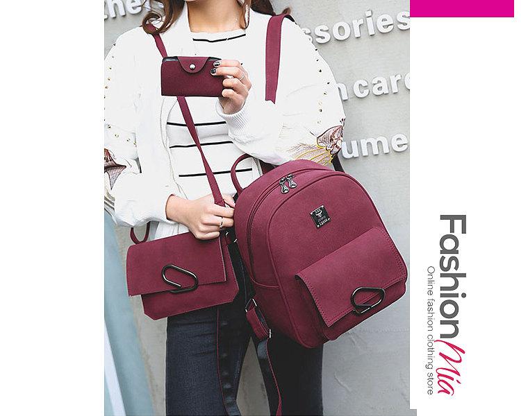 New Style Three Pieces Decrotive Metal Plain Women Backpacks