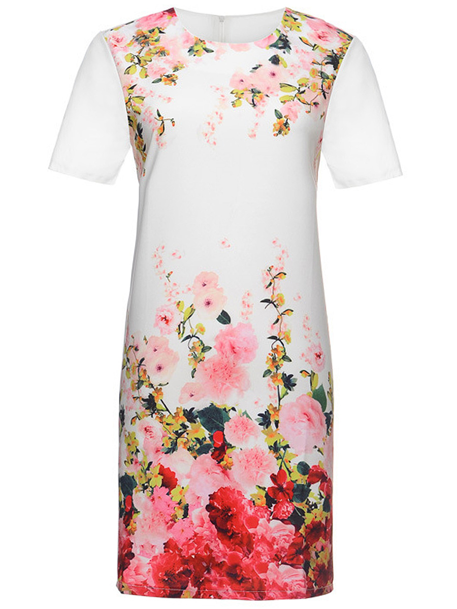 Designed Round Neck Floral Printed Shift Dress