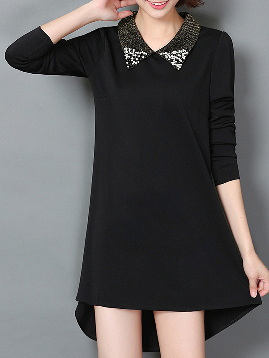 Doll Collar Plain High-Low Beading Shift Dress