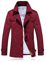 Lapel Single Breasted Plain Fleece Lined Men Coat