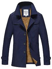 Lapel-Single-Breasted-Plain-Fleece-Lined-Men-Coat