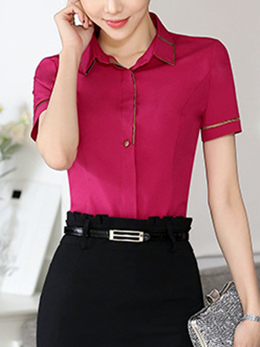 Turn Down Collar Contrast Trim Blouse