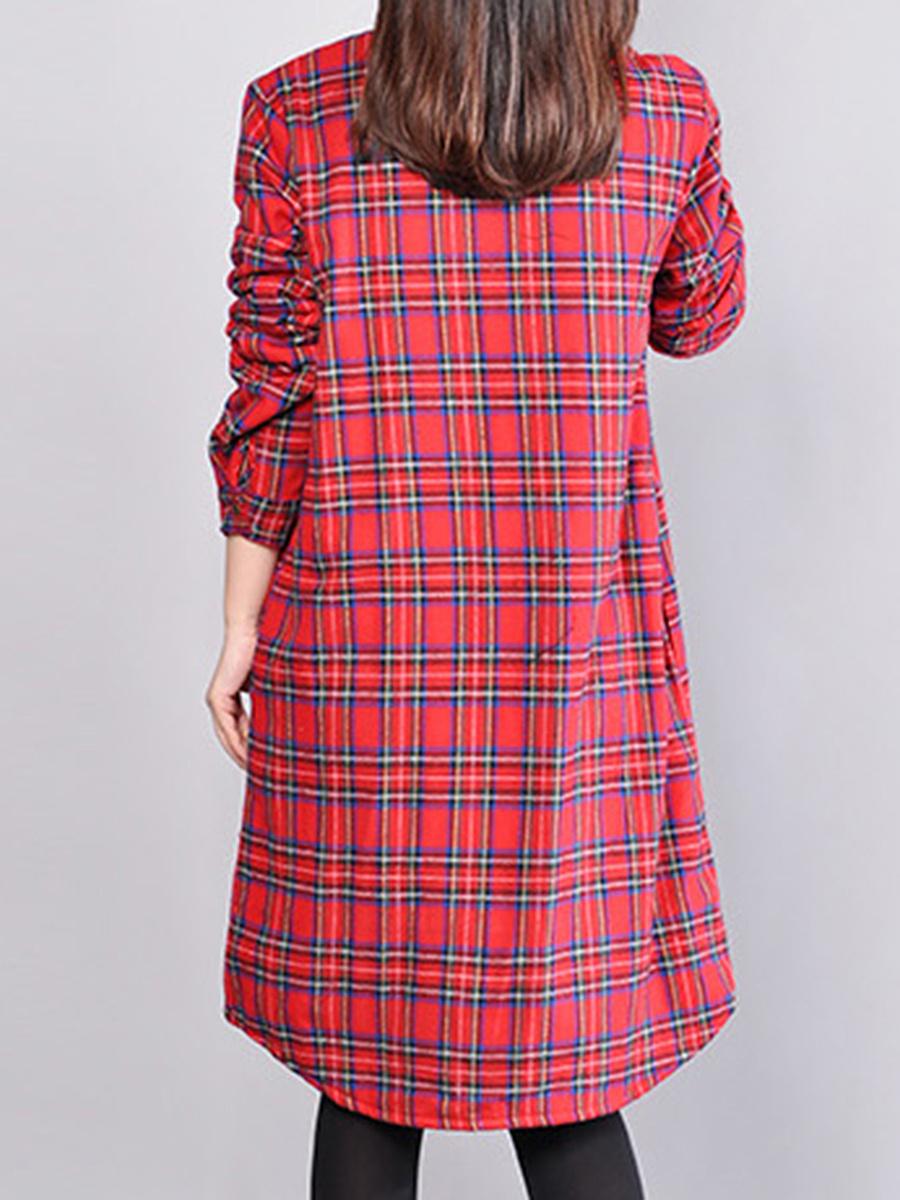 Turn Down Collar  Printed Shift Dress