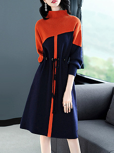High Neck  Drawstring  Color Block Shift Dress