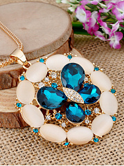 Blue Imitated Crystal Butterfly Pendant Long Necklace