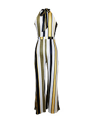Vertical Striped Band Collar Wide-Leg Jumpsuit