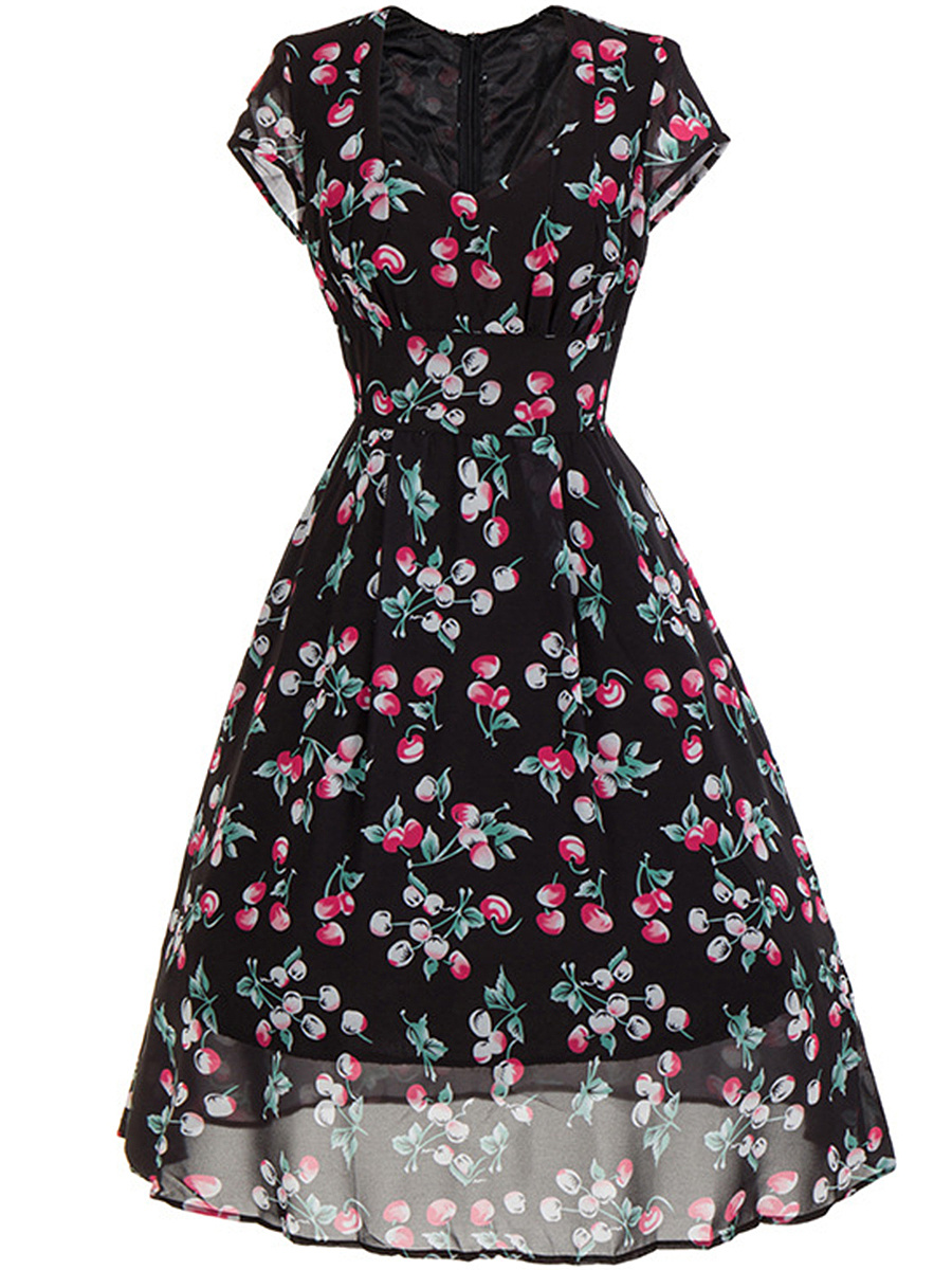 Sweet Heart Printed Midi Skater Dress