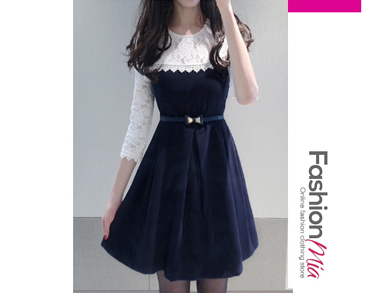 Round Neck  Patchwork  Belt  Color Block Lace Skater Dress
