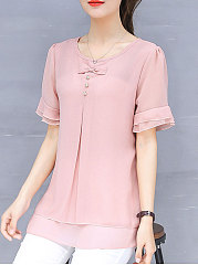 Spring Summer  Chiffon  Women  Round Neck  Asymmetric Hem Flounce  Decorative Button  Plain  Short Sleeve Blouses