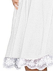 Round Neck  Decorative Lace Patchwork  Plain Skater Dress