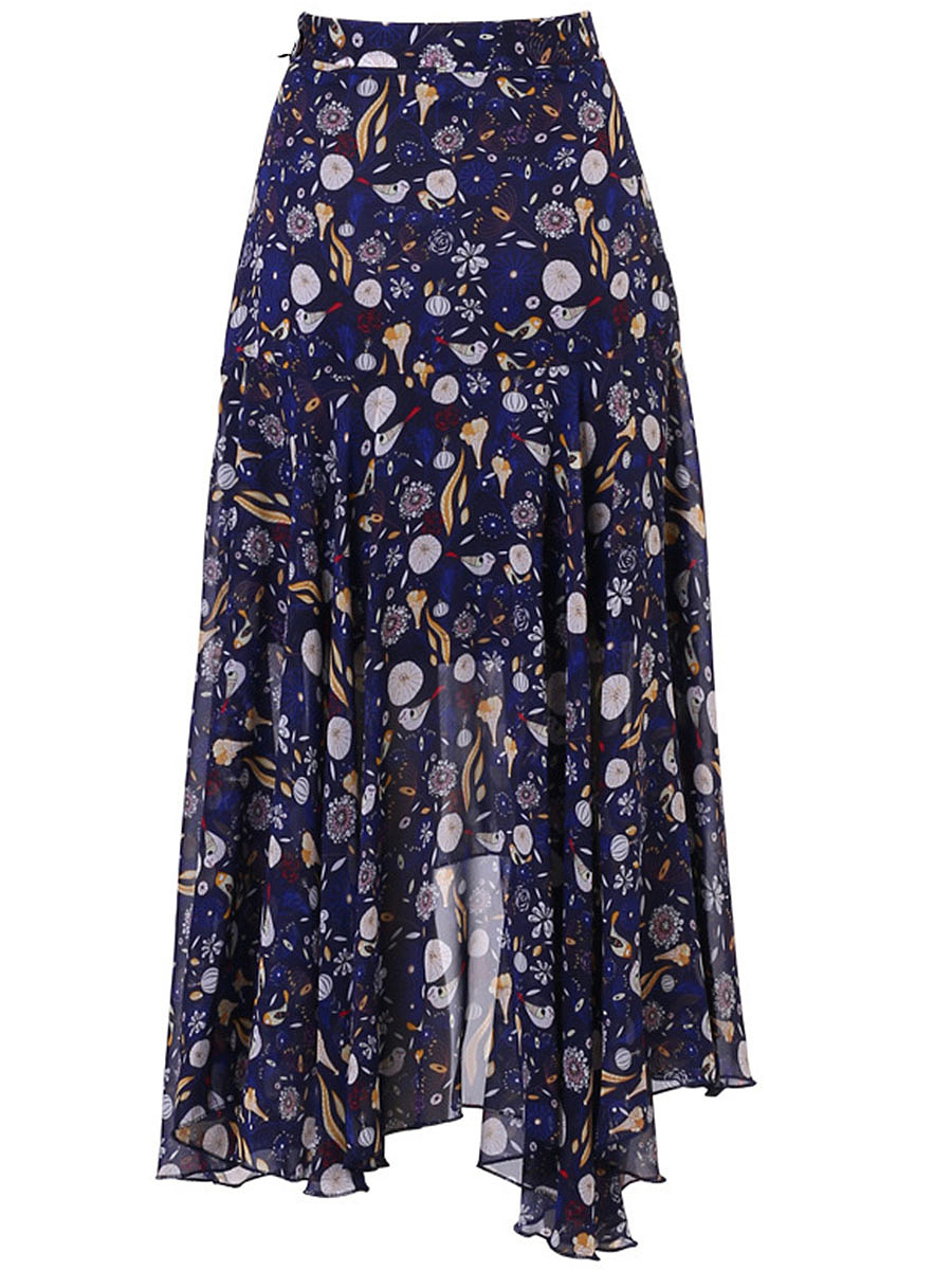 Asymmetric Hem  Printed  Flared Maxi Skirt