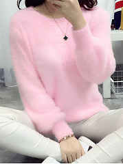 Plain  Long Sleeve Sweaters Pullover